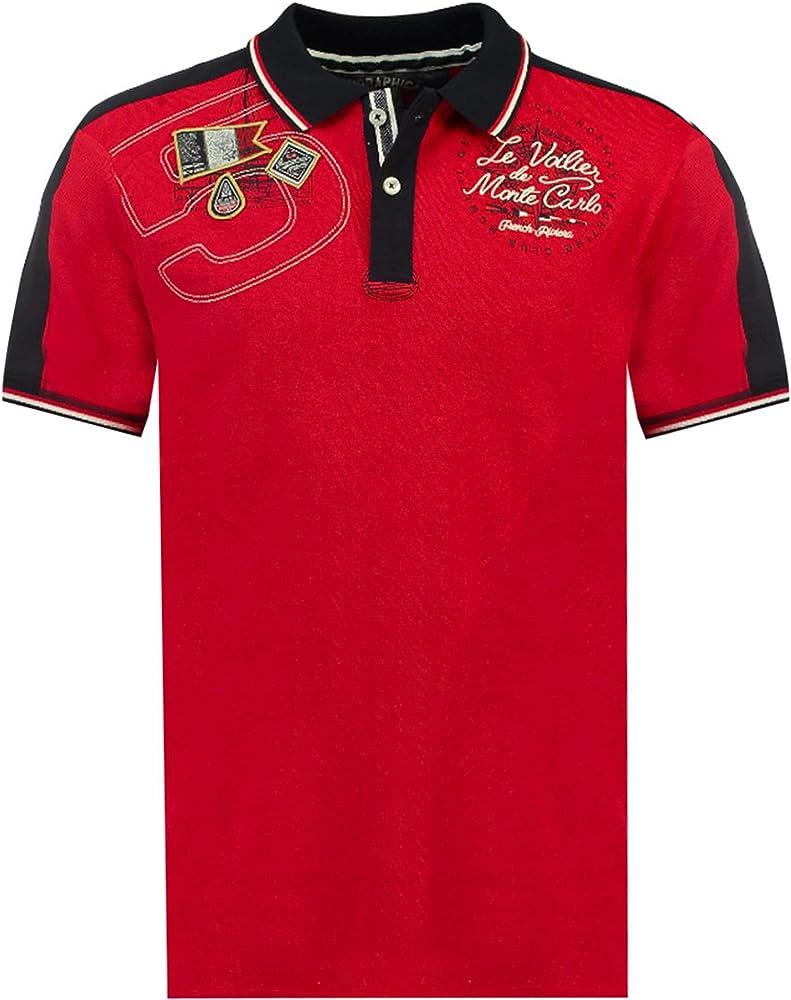 Geographical norway kalvin men, polo,maglietta da uomo con stampa classica, 100 % cotone, a maniche corte SR177H/GN