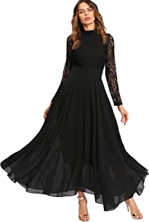 Women's Vintage Floral Lace Long Sleeve Ruched Neck Flowy Long Dress