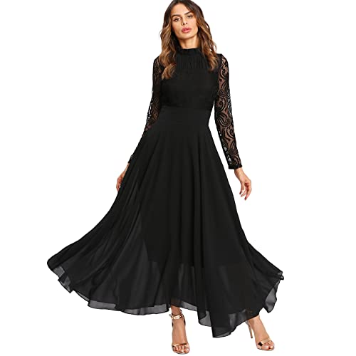 a7a01a5836 Milumia Women s Vintage Floral Lace Long Sleeve Ruched Neck Flowy Long Dress