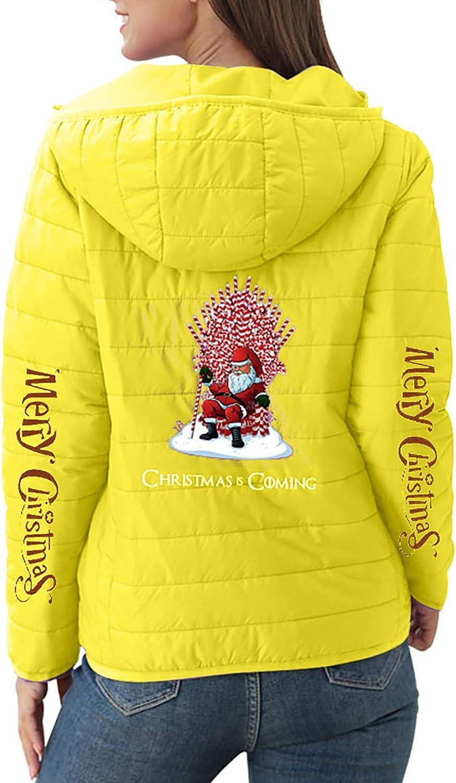 MMOOVV Weihnachten Damen Daunenjacke Übergangsjacke Daunenmantel Mit Kapuze Christmas Print Warme Winter Jacke Parka Langarm Mantel Steppjacke Winterjacke Gelb#b