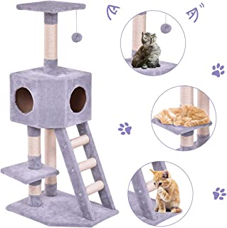 Tangkula Cat Tree Pet Furniture Multi-Level Kitty Tree with Sisal-Covered Scratcher Slope, Plush Perches, Scratching Posts and Condo Home, Activity Centre Cat Tower - for Kittens, Cats and Pets