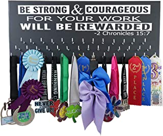 Running On The Wall-Gifts for Runners-Marathon Medal Display-Medal Rack for Running- Awards Hanger - Wall Mounted Holder-BE Strong and Courageous…-2 Chronicles 15:7