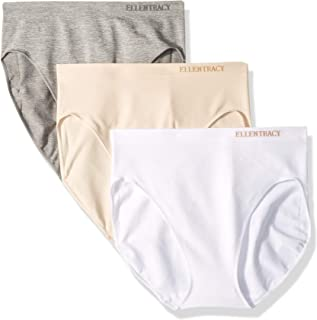 ELLEN TRACY Women's Hi Cut Seamless Logo Panties, 3 Pack