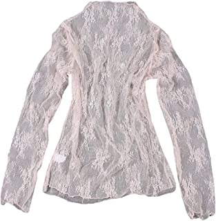 Women's Regular-Fit Mesh Tops Long-sleeved Sheer Blouse Sexy Shirt Mock Neck Clubwear