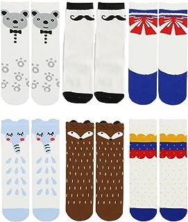 6 双装中性女婴袜及膝袜动物婴儿袜,有机