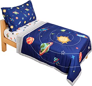 TILLYOU 5 Pieces Space Theme Toddler Bedding Set (Quilt, Fitted Sheet, Flat Sheet, Pillowcases) - Microfiber Printed Nurse...
