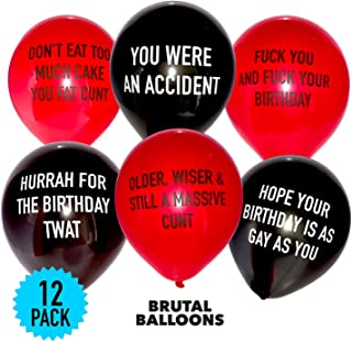 Brutal Balloons - Abusive Balloons Black & Red Pack of 12 - Rude Birthday Balloons for Adults - Insult Your Friends or Enemies with Funny Party Decorations - the Most Offensive Balloons on the Planet