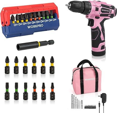 high quality WORKPRO sale Pink Cordless Drill Driver Set & Impact Driver Bit outlet online sale Set 13-piece online