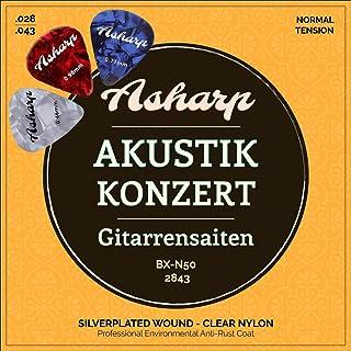 Asharp Cuerdas de guitarra para concierto de guitarra con 3 púas. Cuerdas de nailon de primera calidad y plata, buena acústica y calidad superior para guitarra clásica