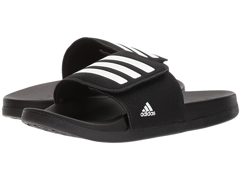 adidas Kids Adilette CLF + Adj (Toddler/Little Kid/Big Kid) (Black/White) Kids Shoes