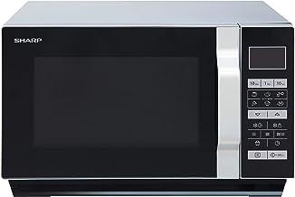 *Sharp R-760S Mikrowelle / 49 cm / 23L Garraum / ebener Boden und somit eine größere Auflagefläche, somit auch für eckiges Geschirr geeignet / schwarz / edelstahl / Automatikprogramme / Zeitschaltuhr / LCD Anzeige / Mikrowelle & Grill*