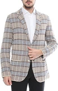 (ラルディーニ) LARDINI ジャケット コットン リネン チェック柄 ニットジャケット[LDJM2250018] [並行輸入品]