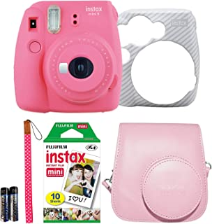 Fujifilm Instax Mini 9 Instant Film Camera Holiday Bundle (Flamingo Pink) 1 x Pack 10 Sheets instax Film with Pink Instax Groovy Case