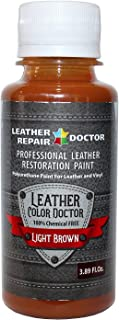 Professional Light Brown Leather Paint For Touch-Up, Recoloring and Restoration - Shoes, Jacket, Purse, Belt, Couch Chair, Sofa, Motorcycle and Car Seat