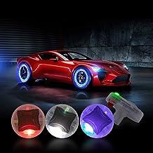 CoCsmart Car Tire Wheel Lights, 4pcs Car Wheel Tire Air Valve, Hub Lamp Cap Light with Motion Sensors Colorful LED Tire Li...
