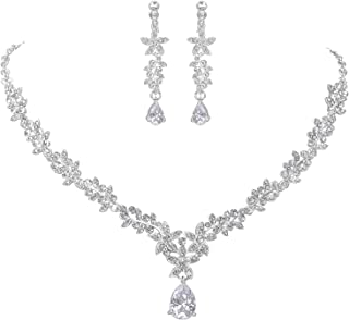 Bridal Necklace Earrings Fashion Jewelry Set for Women Brides Bridesmaids in Heart Shape Pendant Cubic Zircon Jewelry CZ