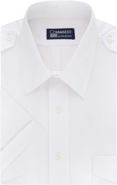 Van Heusen Mens Dress Shirts Short Sleeve Pilot Shirt Solid Spread Collar