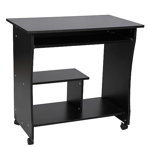 VASAGLE Bureau mobile, Table informatique avec Roulettes, Table d'ordinateur avec Support Clavier Coulissant, Montage simple, Stable, pour la maison et le bureau, Noir LCD858B