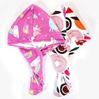 (N/A) Microfiber Hair Towel, 2Pack Printed Hair Drying Towel Hair Towel Wrap Quick Dry Turban Towel Hair Wrap for Kid Girls Adult Women