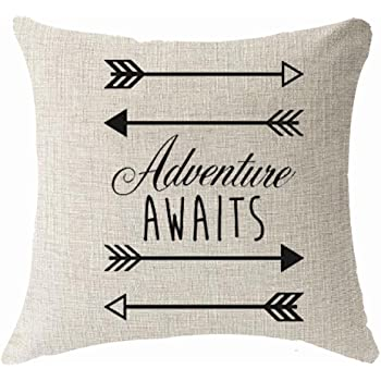 "FELENIW Nordic Simple Geometry Arrow Saying Adventure Awaits Throw Pillow Cover Cushion Case Cotton Linen Material Decorative 18""x18'' Square (18x18 inches, 2)"