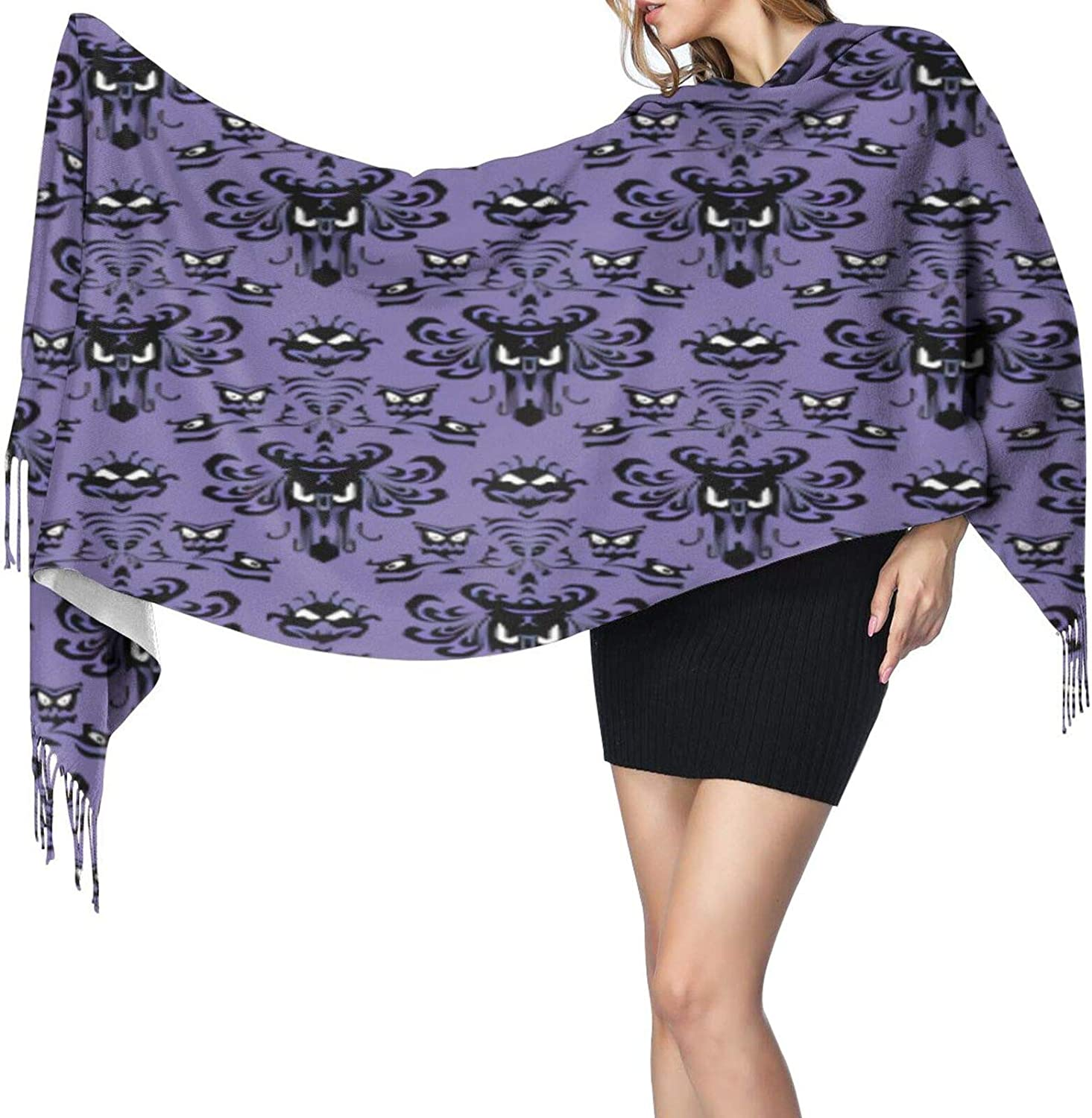 Cashmere fringed scarf Haunted Mansion winter extra large scarf
