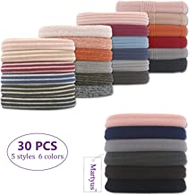 Hair Ties Elastics Bands Ponytail Holders with Cotton and Nylon Cloth Fabric with Thick Soft Stretch Seamless No Crease Damage and Pull for Women Accessories