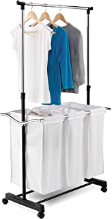 Honey-Can-Do SRT-01237 Triple Sorter Laundry Center with Hanging Bar