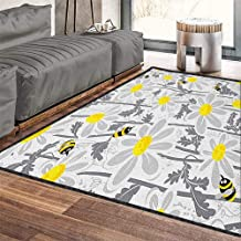 Grey Fashionable and Affordable Rugs,Daisy Flowers with Bees in Spring Time Honey Petals Floret Nature Purity Blooming Chic Pattern Anti-Static Yellow White 71