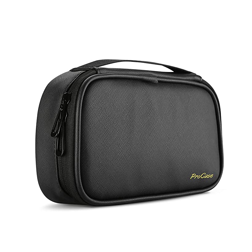 ProCase Travel Electronics Cable Organizer Bag, Double Layer Thicken Portable Gadget Accessories Multifunction Carrying Case Pouch for Cords USB SD Memory Cards Earphones Power Bank Hard Drive –Black