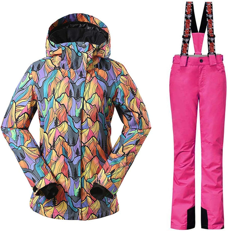 YEEFINE SNOWING Women's Ski Suit Jacket Waterproof Suspender Pants 2Piece Snowsuit