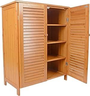 Saim 4 Tiers Bamboo Shoe Rack Closet with Doors Shoe Storage Organizer Cabinet