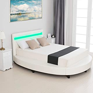 LAGRIMA Modern Upholstered Round Platform Bed with LED Light Headboard, Faux Leather Bed Frame with 2.8-Inch Solid Wooden Slat Support, White, Full Size