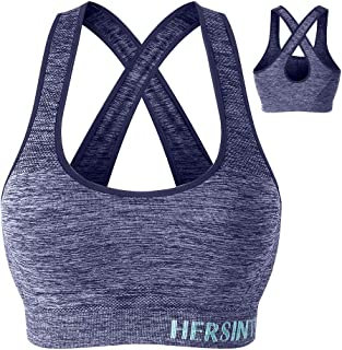 Hers Intimate Crossback Racerback Sports Bra Medium Support, Padded Seamless Sports Bras for Women Workout Yoga Gym Running