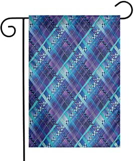 Mannwarehouse Navy Blue Decor Garden Flag Complex Structured Different Lines and Patterns Polka Dots Tiles Stripes Patch Work Decorative Flags for Garden Yard Lawn W12 x L18 Purple Blue