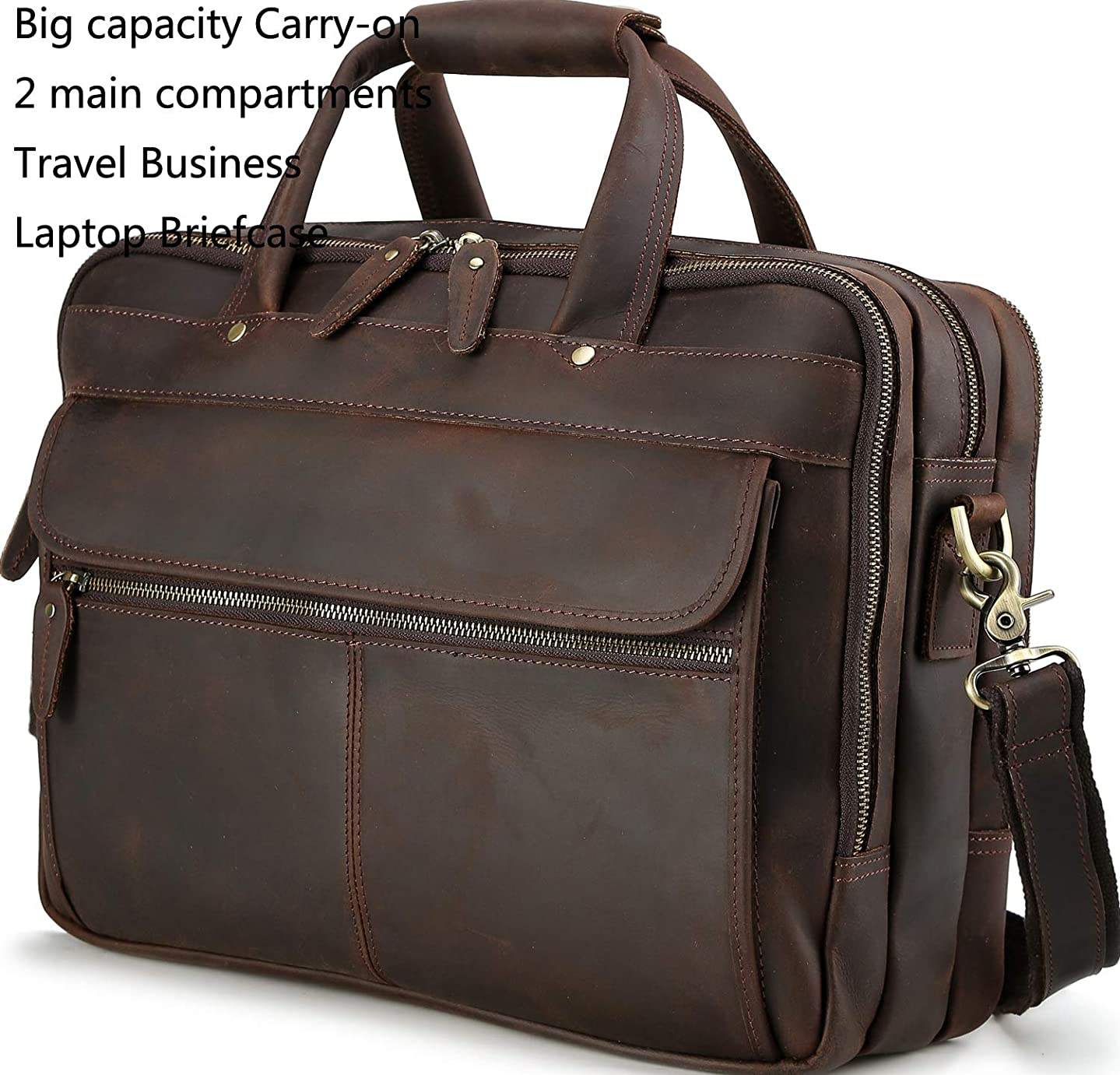 Iswee Men Vintage Thick Leather Travel Carry-on Big Capacity Business Trip Laptop Briefcase