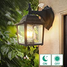 Dusk to Dawn Sensor Outdoor Wall Lanterns, Lamomo Wall Sconce Porch Light Fixture with E26 6W Led Light Bulb, UL Listed Anti-Rust Waterproof Black Lamp for Garden, Porch, Villas, Court-Yard