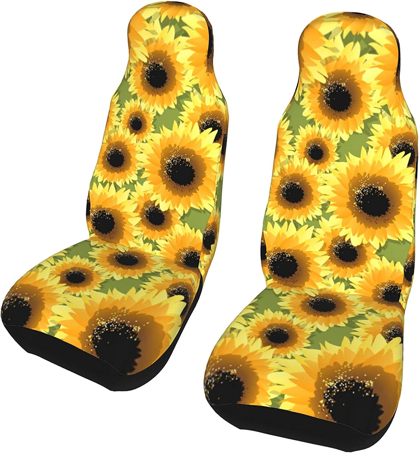 Non-Slip Universal Sunflower 2pack Car Full Our shop most Department store popular Set Seat Easy Covers