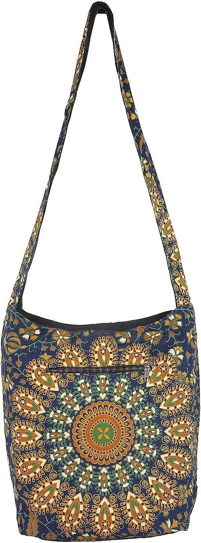 Stylo Culture Cotton Printed Sling Bag For Womens Traditional Boho Handbag Jhola Bag College Dark Blue & Green Peacock Feather Mandala Shoulder Bag