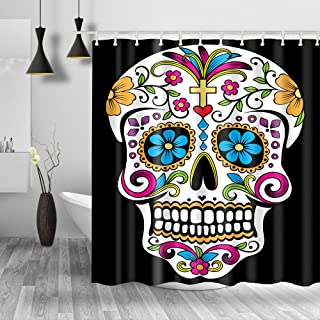 "Homify Sugar Skull Shower Curtain - 100% Polyester Water-Repellent, Black 71""x71"" Fabric Shower Curtain Set for Bathroom,Shower Rings Included"