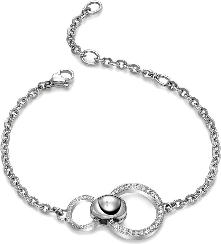 Breil bracciale da donna collezione breilogy in acciaio con cristalli e finitura diamantata TJ1688