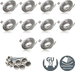 Marco de montaje para foco empotrable GU10 I Redondo I Accesorio I Kit de 10 unidades I Metal I Color níquel mate I IP23 I Ø 86 mm