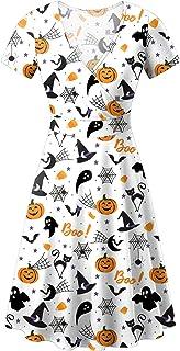 For G and PL Women's Halloween Short Sleeves V Neck Wrap Dress
