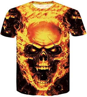 396f8aab6bec1 T-Shirt - Manches Courtes - Solike Homme Tops Été 3D Imprimé Skull en Modal