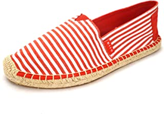 Espadrille Flats for Women, Slip on Espadrille Loafers Sneakers Shoes Navy Blue Tan Brown Rose Gold Silver Red Ladies Canvas/Faux-Suede Espadrilles for Women(04-9-87 / Red, US-9)