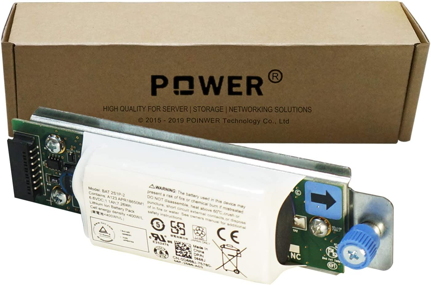 POINWER 0668J 0D668J D668J BAT 2S1P-2 Battery Compatible with Dell Raid Controller PowerVault MD3200i MD3220i Series 6.6V 7.26Wh 1100mAh