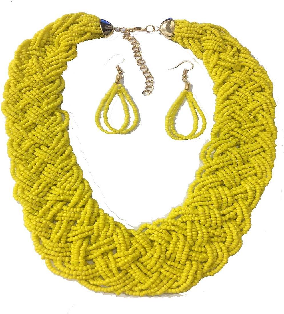 BOHO Small Seed Beads Handmade Knot Vintage Necklace Earrings Jewelry Set Bohemian Choker Ethnic Women Accessories