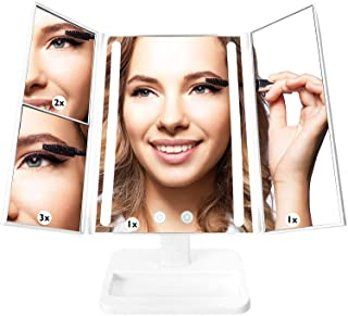 Lighted Makeup Mirror - 3-Color Dimmable Lighting Vanity w/ 32 LEDs, Tri-Fold Design - 1X 2X 3X...