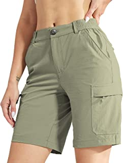 MIER Women's Stretchy Hiking Shorts Quick Dry River Cargo Shorts with 6 Pockets, Water-Resistant & Lightweight