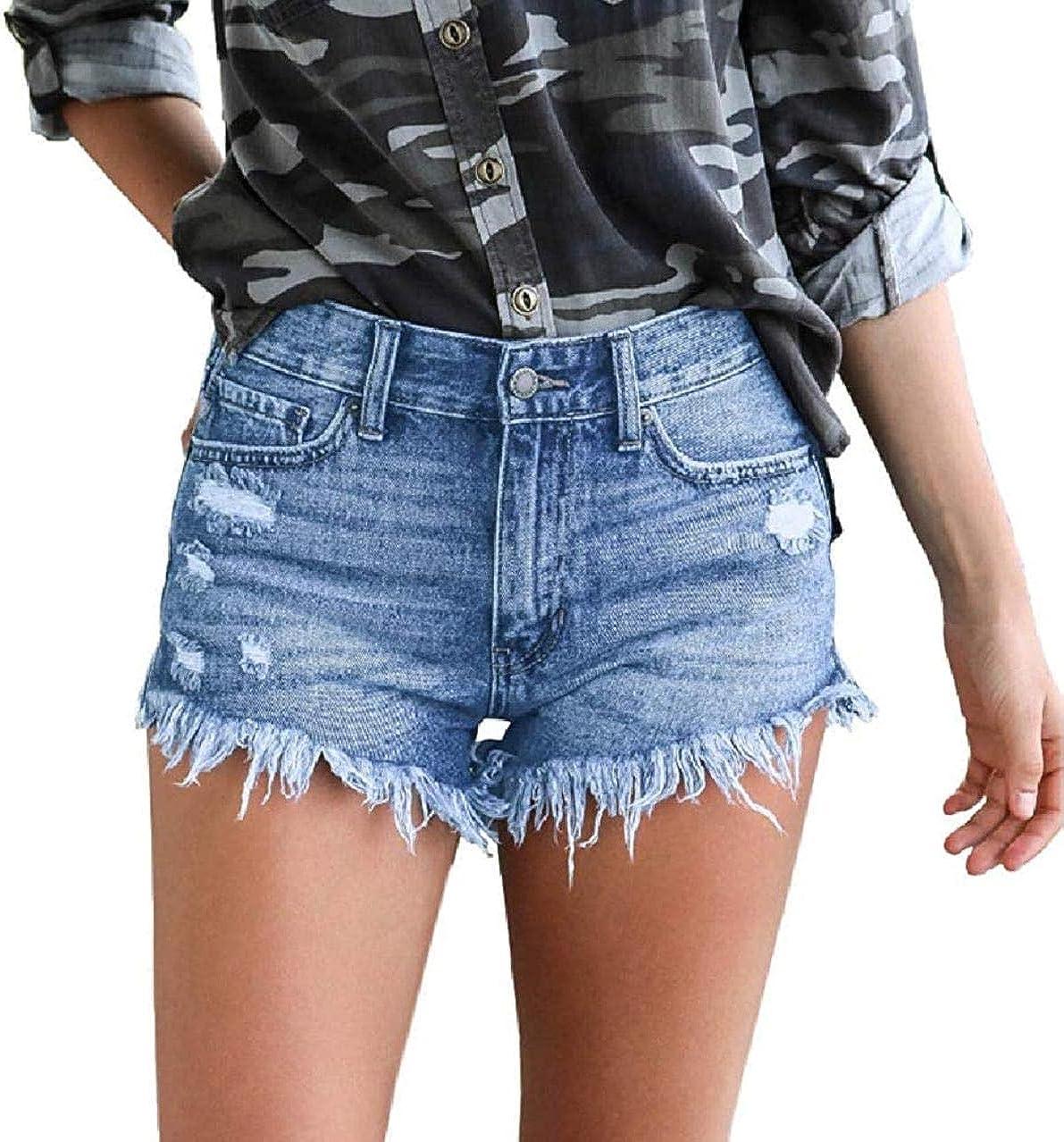 JNBGYAPS Women Summer Stretch High Rise Ripped Distressed Tassels Denim Shorts Jeans