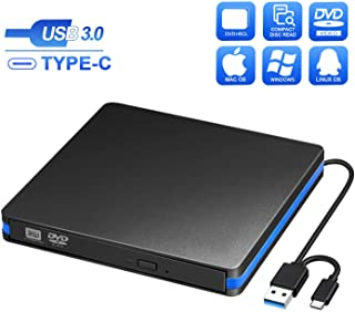 BlueFire External CD DVD Drive, Slim USB C Laptop Drive Portable External Disc Drive, High Speed Data Transfer USB 3.0 Typ...